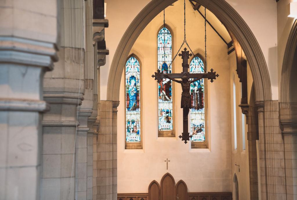 Hanging cross at St Bons