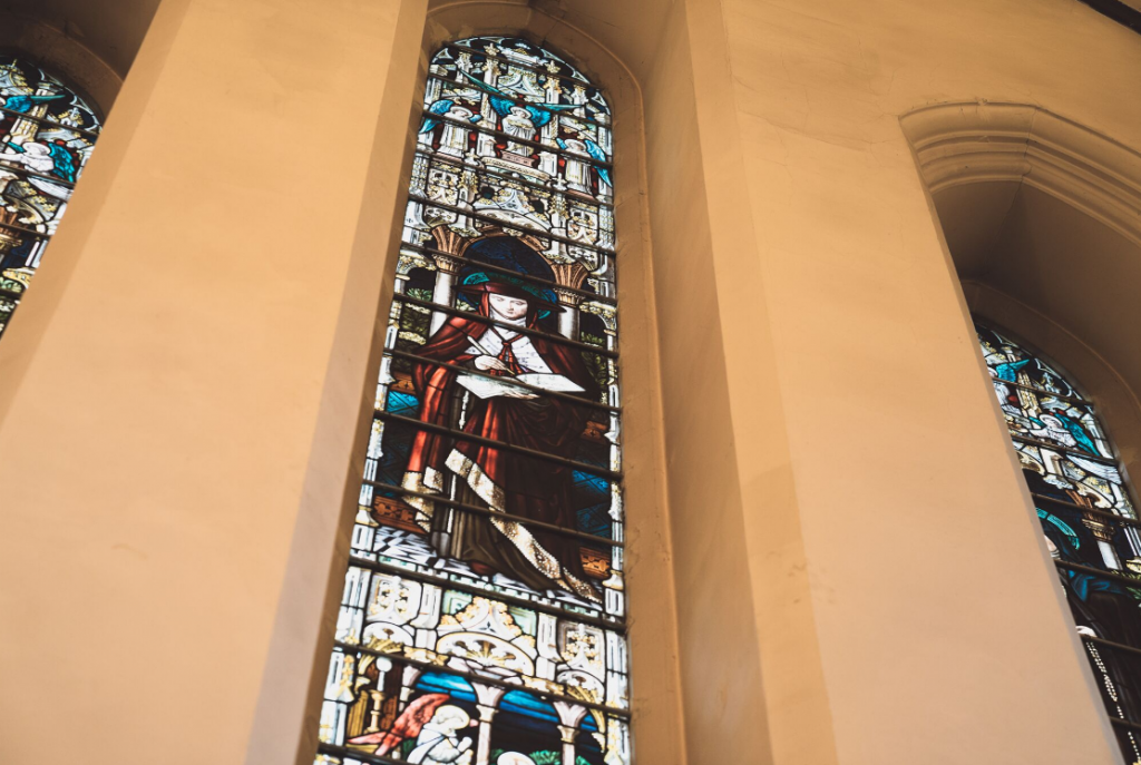 Stained glass window at St bons